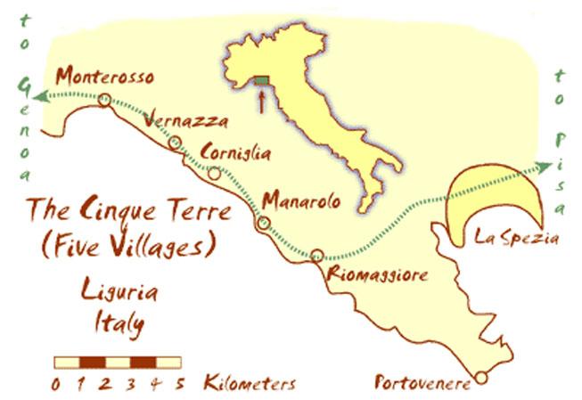 Mapa Cinque terre