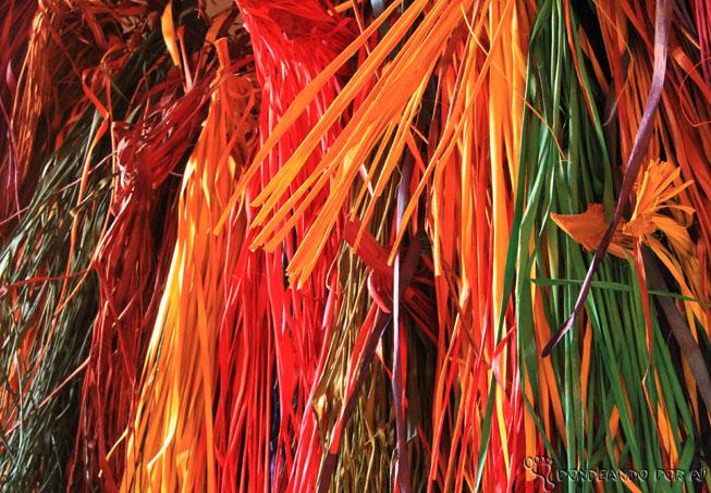 Folhas de Carnaúba tingidas para artesanato e feitura de cestos