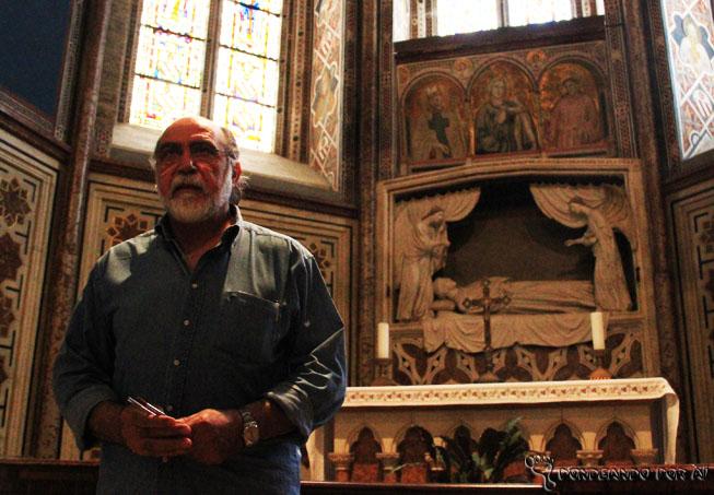 Restauarador de afrescos na basílica de são francisco