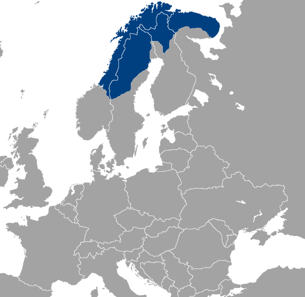 Região da Lapônia. Mapa disponibilizado pela Wikimedia Commons.