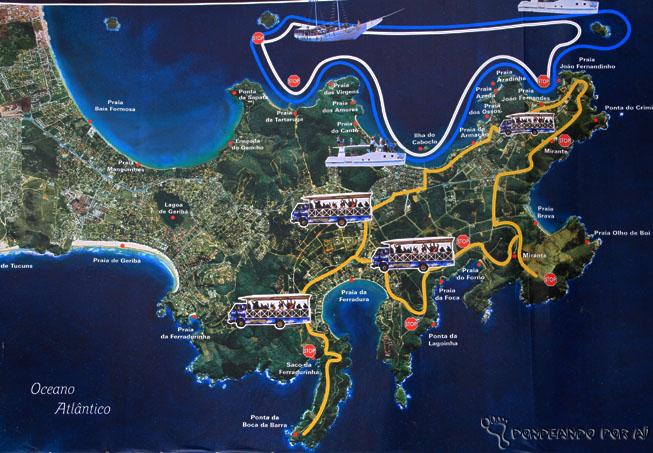 O Blue Tree fica no cantinho da praia de Tucuns, na parte de baixo do mapa, e bem pertinho de Geribá.
