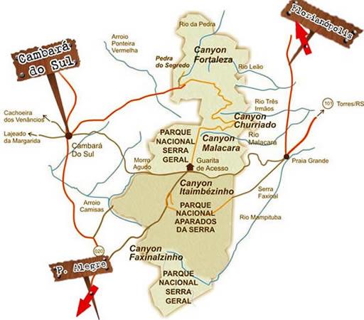 Um mapinha da região para vocês se localizarem! Crédito do Mapa: Cabana Brisa dos Canyons