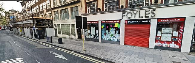 Livraria da Foyles, na Charing Cross Road, em Londres. Só que a foto aí foi tirada do Google Street View, provavelmente de manhã cedinho - e tem uma pegadinha hoje que a gente explica ali embaixo.