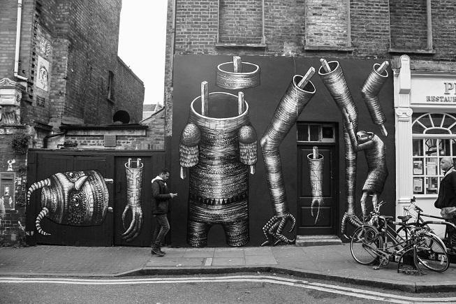 East End hoje: um festival de street art ao ar livre - mais um bônus do tour da Jude! :)